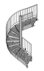 12-2016 Wendeltreppe mit Gitterroststufen und Außenwange