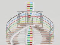 gegeneinander verlaufende Wendeltreppen mit Rohrmittelholm, Podesttragkonstruktion als DNA-Strang ausgebildet, mehrfarbig beschichtet