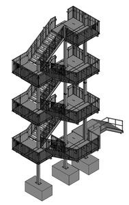 06-2016 Fluchttreppenturm über 4 Etagen nach DIN 18040 barrierefrei
