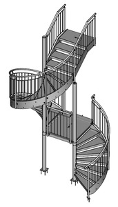 05-2018 Spindeltreppe als Sonderausführung mit Zwischenpodest zwischen 2 Spindeln und geradem Treppenlauf am Austritt, feuerverzinkt + pulverbeschichtet (Duplex)