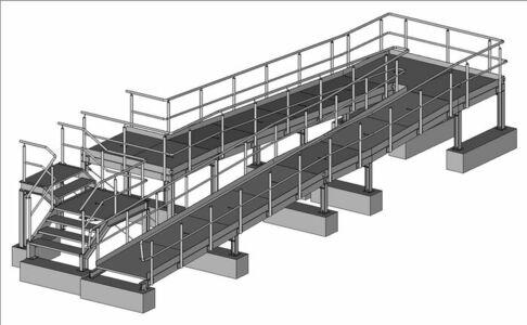 Rollstuhlrampe nach DIN 18040, Breite 1250mm mit zusätzlichem Treppenzugang aus stahl feuerverzinkt