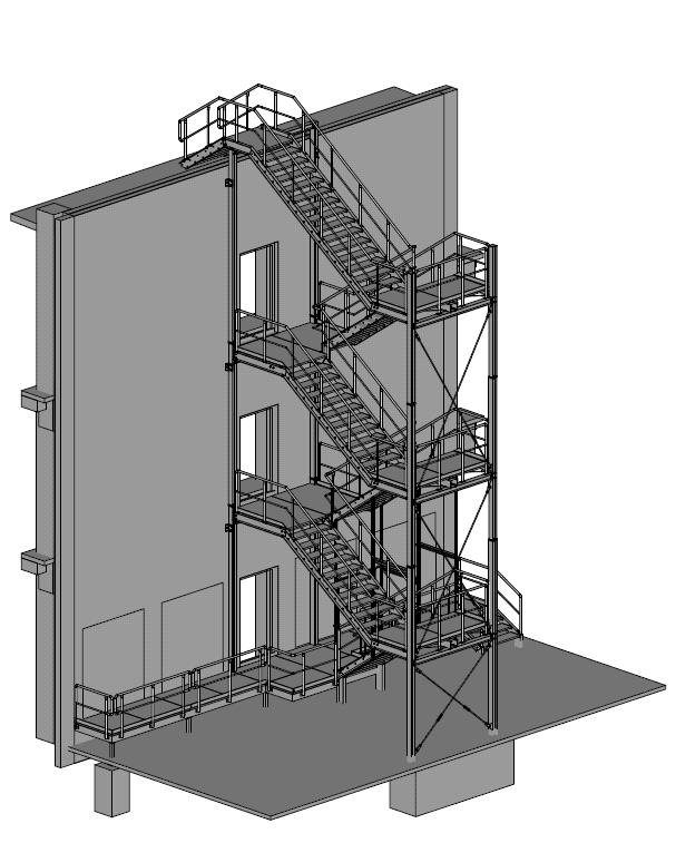 Treppenturm mit Gitterroststufenan Logistikhalle